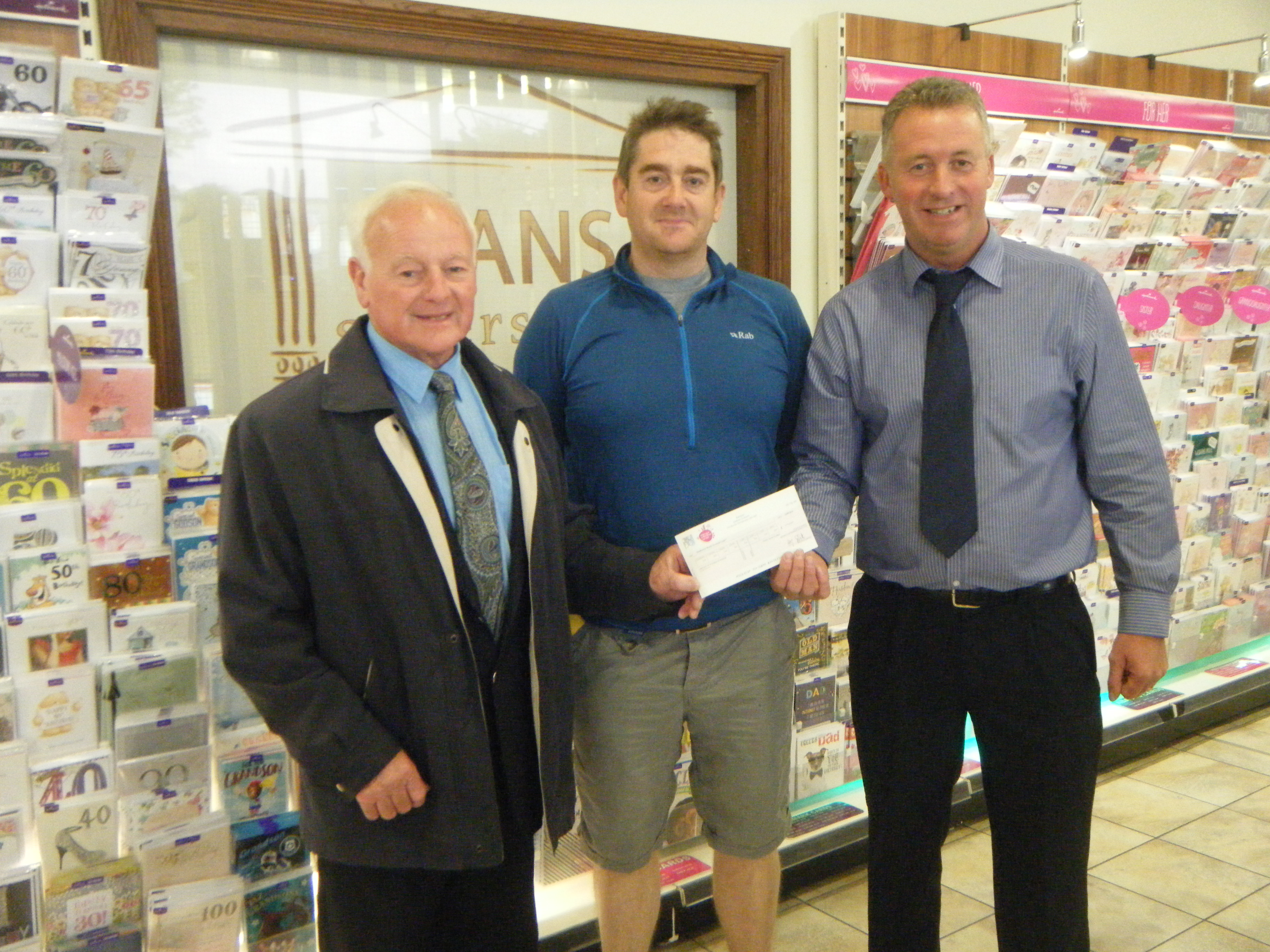 In the picture  Ken Jones (Treasurer) right, Andy Williams (Manager) and Partner Andrew Faulks who can be seen presenting the cheque